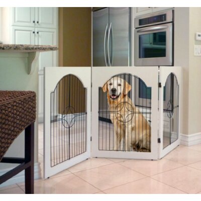 Universal Freestanding Wood & Wire Pet Gate Finish: White