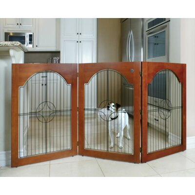 Universal Freestanding Wood & Wire Pet Gate Finish: Cherry