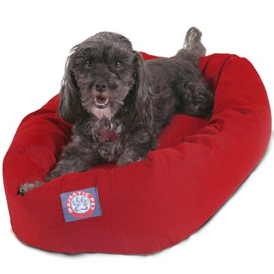 Bagel Donut Dog Bed Color: Red, Size: Large (40 L x 31 W)