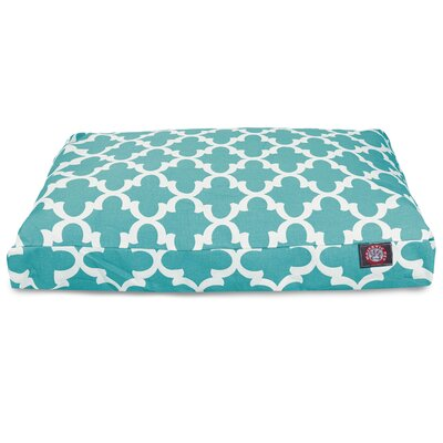 Trellis Rectangular Pillow Pet Bed Size: Medium (44 W x 36 D), Color: Teal
