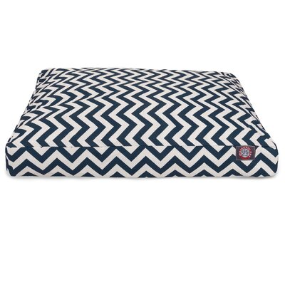 Chevron Rectangle Dog Bed Size: Extra Small (20 W x 27 D), Color: Navy Blue