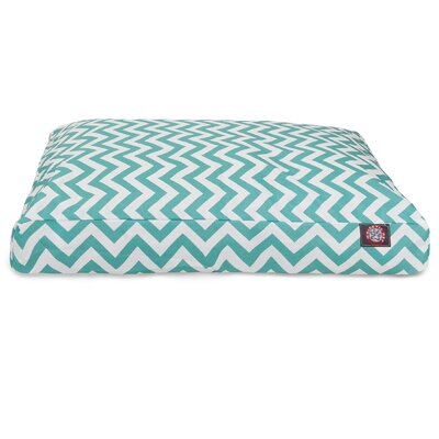 Chevron Rectangle Dog Bed Color: Teal, Size: Extra Small (20 W x 27 D)