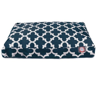 Trellis Rectangular Pillow Pet Bed Size: Medium (44 W x 36 D), Color: Navy