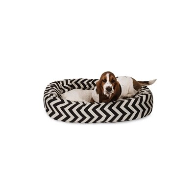 Chevron Sherpa Bagel Bolster Dog Bed Color: Black, Size: Medium (32