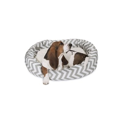 Chevron Sherpa Bagel Bolster Dog Bed Size: Medium (32 W x 23 D), Color: Gray