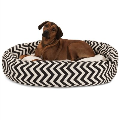 Chevron Sherpa Bagel Bolster Dog Bed Color: Black, Size: X-Large (52
