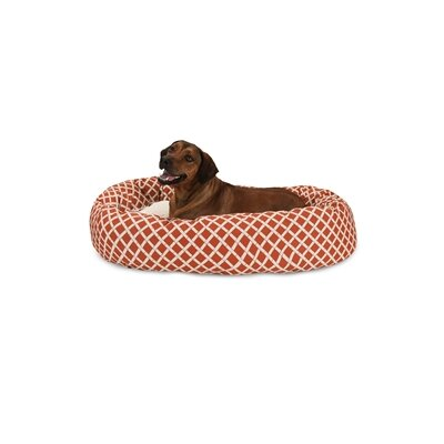 Bamboo Sherpa Bagel Pet Bed Color: Burnt Orange, Size: X-Large (52 W x 35 D)