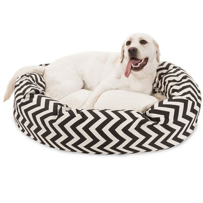 Chevron Sherpa Bagel Bolster Dog Bed Color: Black, Size: Large (40