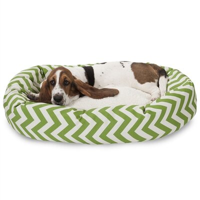 Chevron Sherpa Bagel Bolster Dog Bed Size: Medium (32 W x 23 D), Color: Sage
