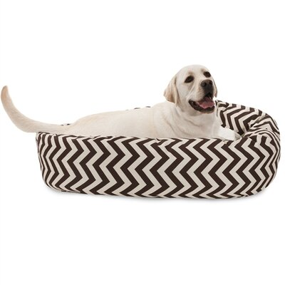 Chevron Sherpa Bagel Bolster Dog Bed Size: Large (40