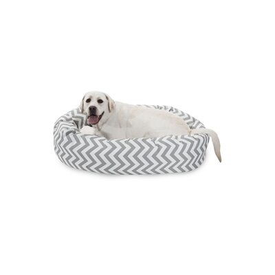 Chevron Sherpa Bagel Bolster Dog Bed Size: Large (40 W x 29 D), Color: Gray