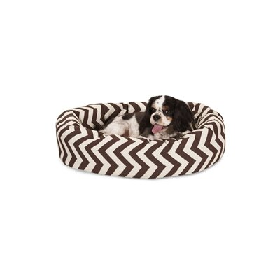 Chevron Sherpa Bagel Bolster Dog Bed Size: Medium (32 W x 23 D), Color: Chocolate