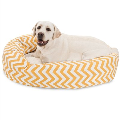 Chevron Sherpa Bagel Bolster Dog Bed Size: Large (40 W x 29 D), Color: Yellow