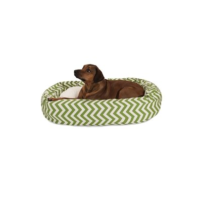 Chevron Sherpa Bagel Bolster Dog Bed Size: X-Large (52 W x 35) D, Color: Sage