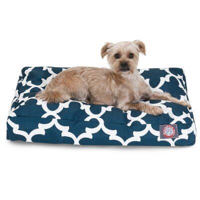 Trellis Rectangular Pillow Pet Bed Size: Small (36 W x 29 D), Color: Navy