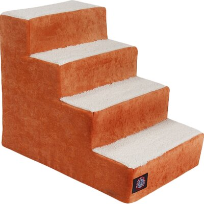 Villa 4 Step Pet Stairs Color: Orange