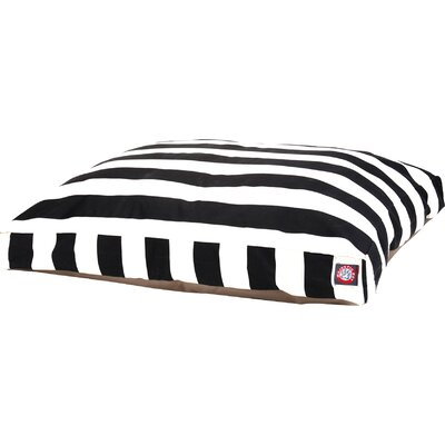 Vertical Stripe Pillow Dog Bed Size: Medium (44 W x 36 D), Color: Black