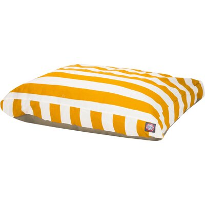 Vertical Stripe Pillow Dog Bed Size: Medium (44 W x 36 D), Color: Yellow