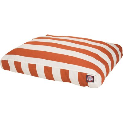 Vertical Stripe Pillow Dog Bed Size: Medium (44 W x 36 D), Color: Burnt Orange