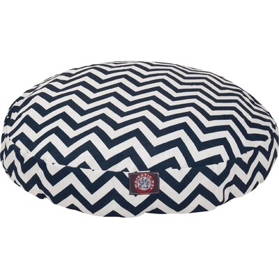 Chevron Round Pet Bed Color: Navy, Size: Large (42 L x 42 W)