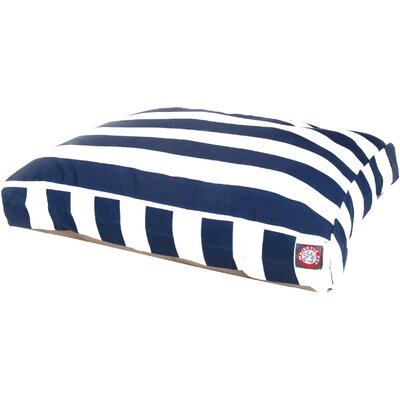 Vertical Stripe Pillow Dog Bed Color: Navy Blue, Size: Medium (44 W x 36 D)
