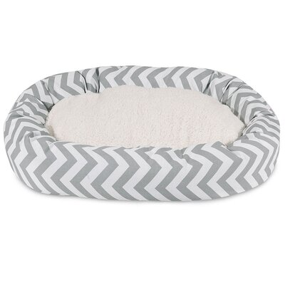 Chevron Sherpa Bagel Bolster Dog Bed Size: X-Large (52 W x 35) D, Color: Gray