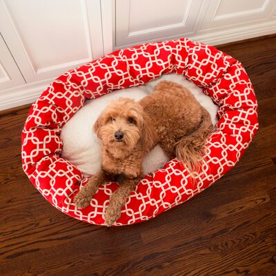Links Sherpa Bagel Bolster Pet Bed Size: Medium (32 W x 23 D), Color: Red