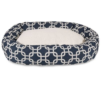 Links Sherpa Bagel Bolster Pet Bed Size: Medium (32 W x 23 D), Color: Navy Blue