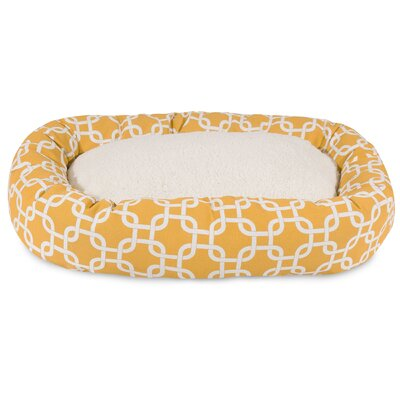 Links Sherpa Bagel Bolster Pet Bed Size: Medium (32 W x 23 D), Color: Yellow