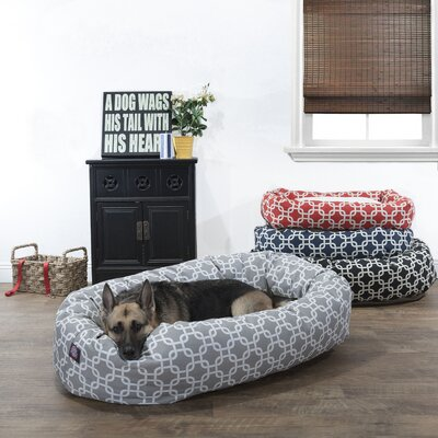 Links Sherpa Bagel Bolster Pet Bed Size: Medium (32 W x 23 D), Color: Gray