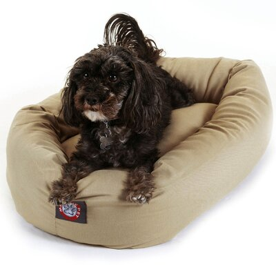Bagel Donut Dog Bed Color: Khaki, Size: X-Large (52 L x 36 W)