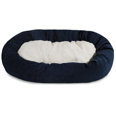 Villa Sherpa Bagel Bed Size: Small (24 L x 19 W), Color: Navy