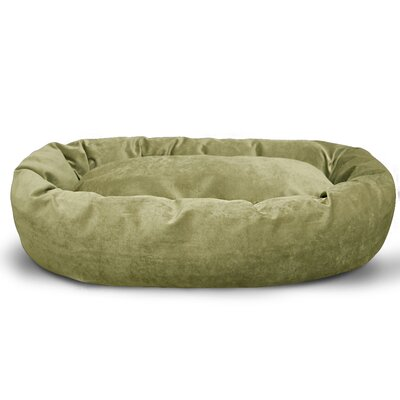 Suede Bagel Bolster Dog Bed Size: Small (24 W x 19 D x 7 H), Color: Green Apple