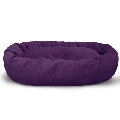 Suede Bagel Bolster Dog Bed Size: Large (40 W x 29 D x 9 H), Color: Aubergine