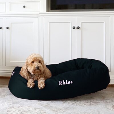 Bagel Donut Bolster Dog Bed Size - Color: Small (24 W x 19 D x 7 H) - Black