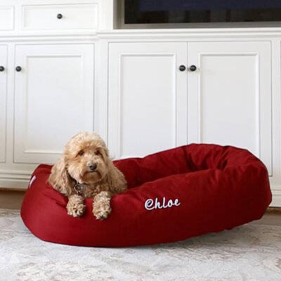 Bagel Donut Bolster Dog Bed Size - Color: Small (7 H x 24 W x 19 D) - Red