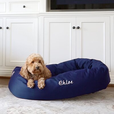 Bagel Donut Bolster Dog Bed Size - Color: Small (24 W x 19 D x 7 H) - Blue