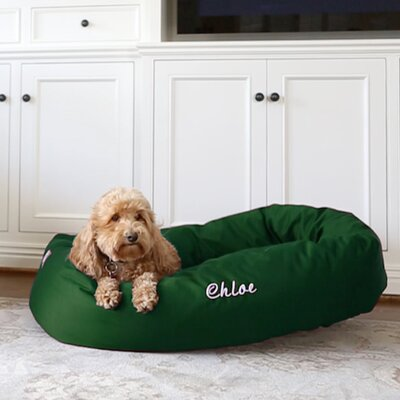 Bagel Donut Bolster Dog Bed Size - Color: Medium (7 H x 32 W x 23 D) - Green