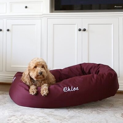 Bagel Donut Bolster Dog Bed Size - Color: Medium (7 H x 32 W x 23 D) - Burgundy