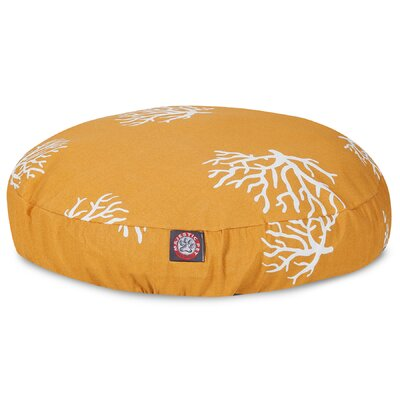 Coral Round Pet Bed Pillow Size: Medium (36 L x 36 W), Color: Yellow