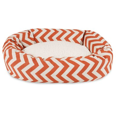 Chevron Sherpa Bagel Bolster Dog Bed Size: Medium (32 W x 23 D), Color: Burnt Orange