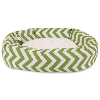 Chevron Sherpa Bagel Bolster Dog Bed Size: Small (24 W x 19 D), Color: Sage