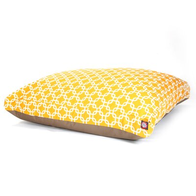 "Links Rectangle Dog Pillow Size: Large (50"" L x 42"" W), Color: Yellow"