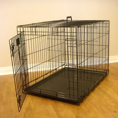 Single Door Folding Pet Crate Size: Medium (23 H x 21 W x 30 L)