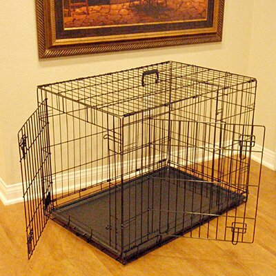 Double Door Folding Pet Crate Size: Large (28 H x 30 W x 42 L)
