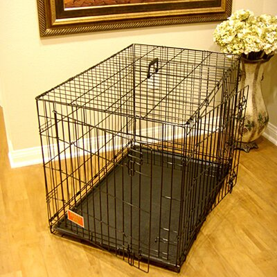 Double Door Folding Pet Crate Size: Medium (24 H x 21 W x 30 L)