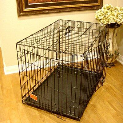 Double Door Folding Pet Crate Size: Large (28 H x 30 W x 42 L)