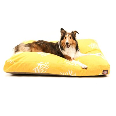 "Coral Rectangle Dog Pillow Size: Medium (44"" L x 36"" W), Color: Yellow"