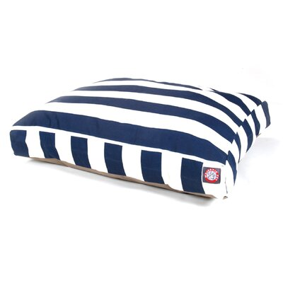 "Vertical Strip Rectangle Dog Pillow Size: Small (36"" L x 29"" W), Color: Navy Blue"