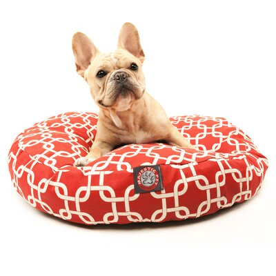 Links Round Pet Bed Size: Small (30 W x 30 W), Color: Red